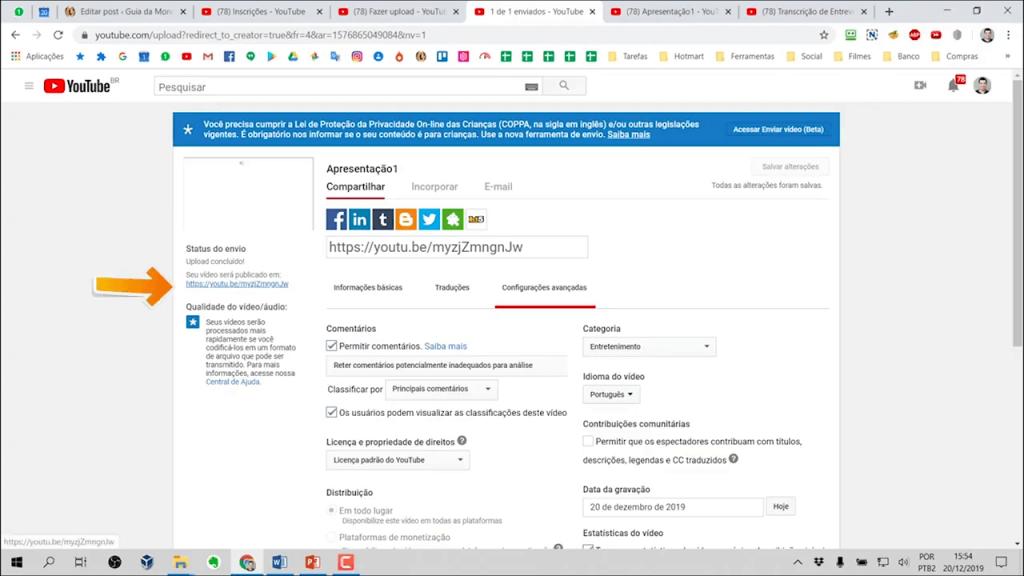 Link disponível do YouTube