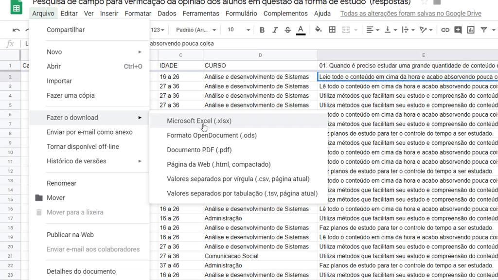 Caminho para realizar download em Excel