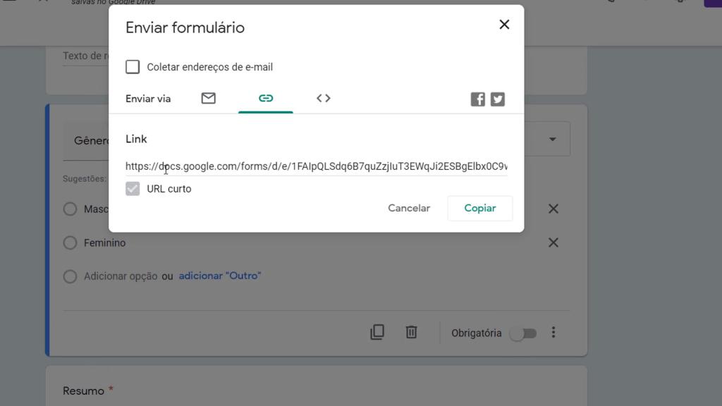Criar e copiar link