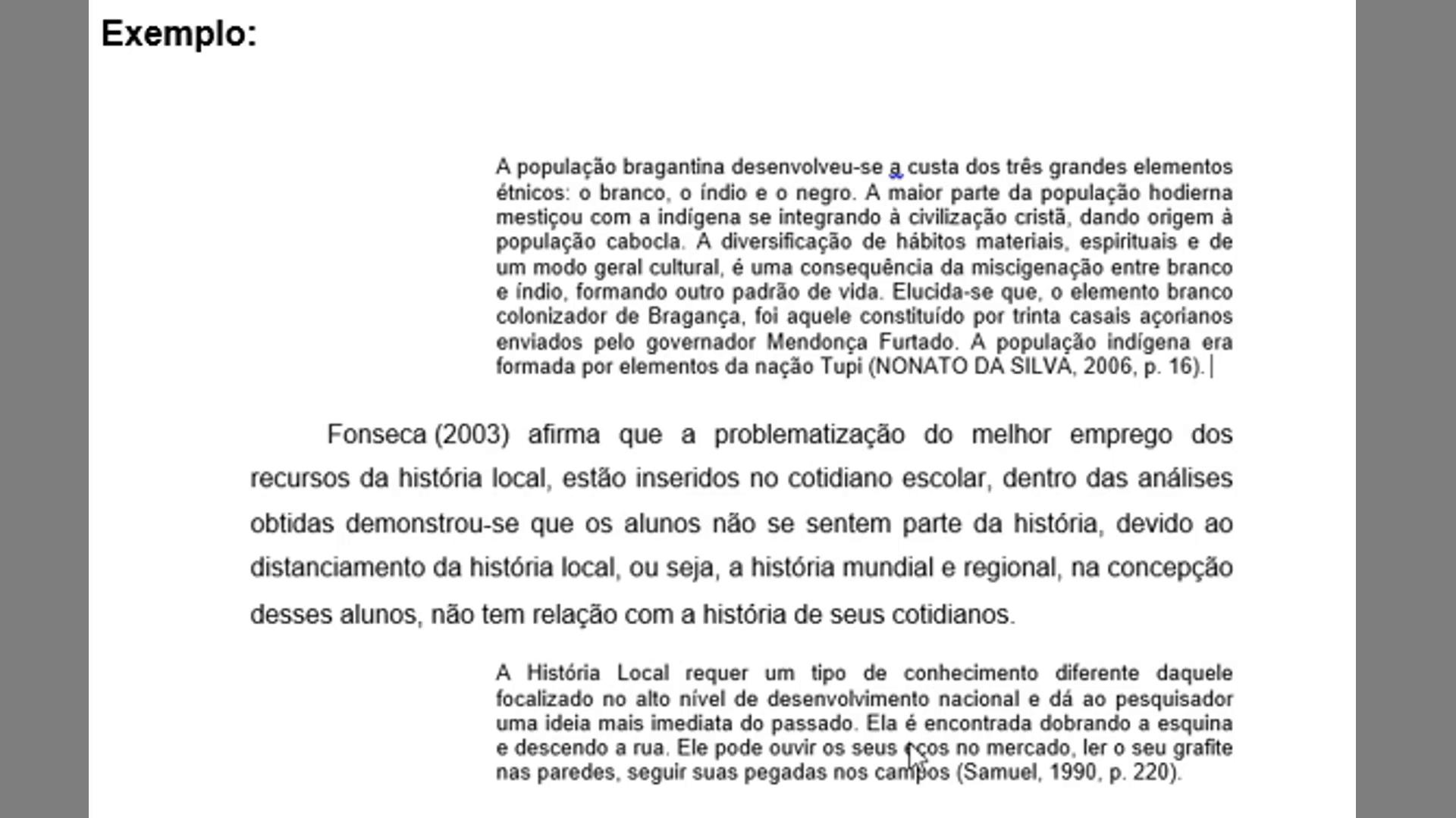 Exemplo de citações sequenciais