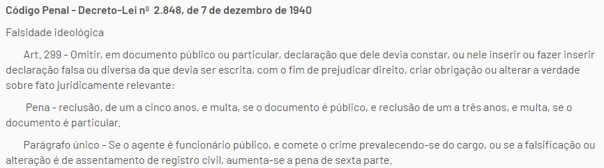 Artigo 299 do código penal brasileiro