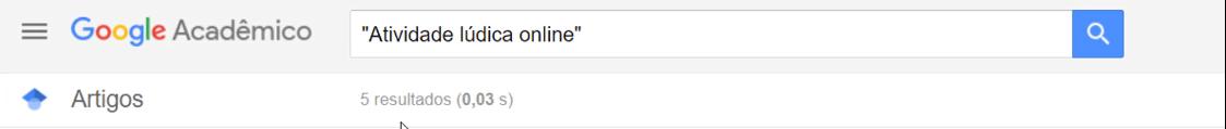 Atividade lúdica online no Google Acadêmico